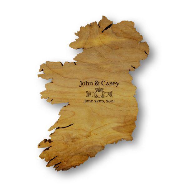 Claddagh Ring Ireland Art Wooden Map
