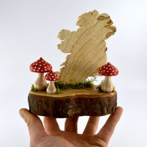 Handmade small map of Ireland ornamnet with magic wooden mushrooms