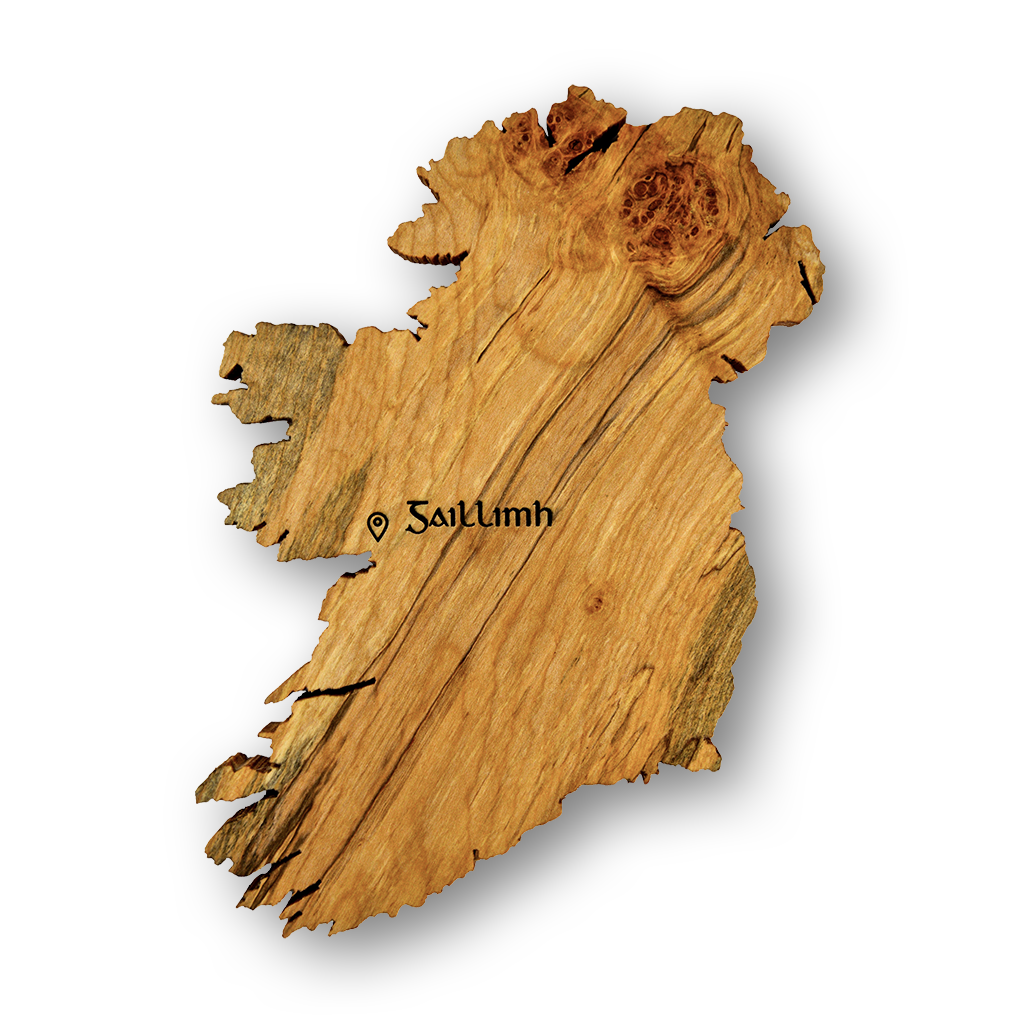 Unique Irish gift - beautiful handmade wooden map of Ireland art engraved with Irish word for Galway using ancient Gaelic font.