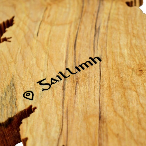Close up of Irish word for Galway engraved using ancient Gaelic font, on a handmade wooden map of Ireland unique Irish gift.