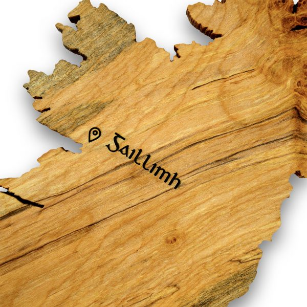 Personalised Irish gift - top view of a Ireland wood map inscribed with Irish word Galway in ancient Irish font.