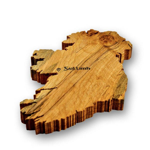 Handmade wood cut of Ireland engraved with Irish word for Galway using old Irish script.