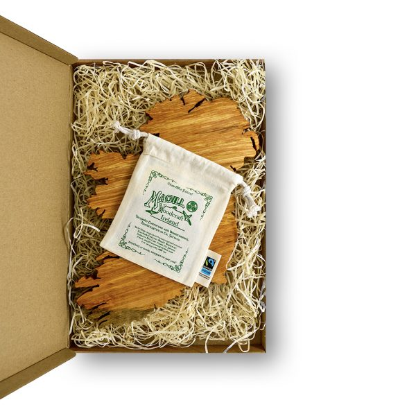 Wooden map of Ireland & screen-printed cotton bag with Magill Woodcraft logo in green, in cardboard gift box.