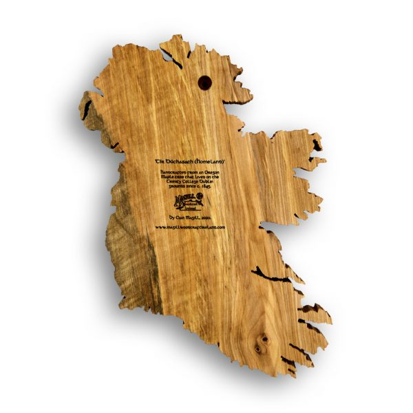 Back view of Ireland wood map with engraved info about story and Magill Woodcraft Ireland logo.