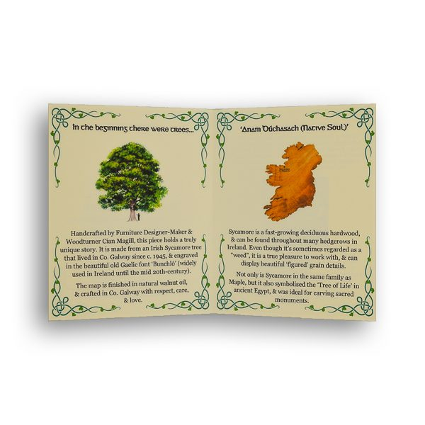 Info card with text about story for Magill Woodcraft wooden maps of Ireland with Celtic corners.
