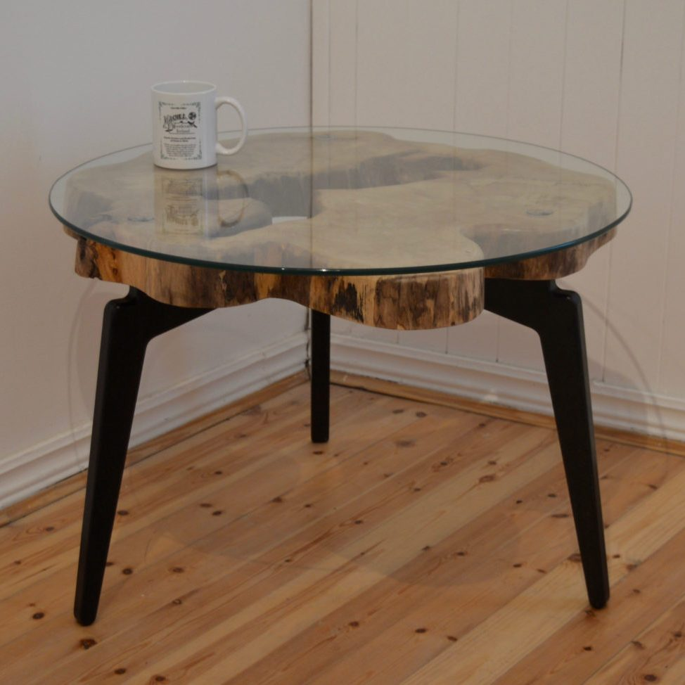 Unique Natural Wood Slab Coffee Table with 3 Modern Black legs. Round and Clear Glass Top