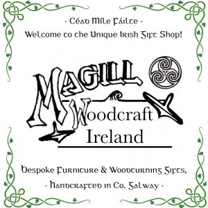 Magill Woodcraft Ireland logo with green celtic corners